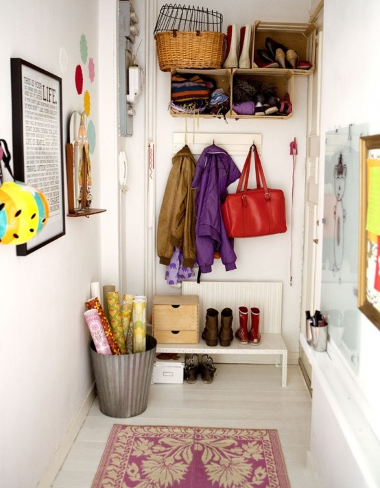 Clever Hallway Storage Ideas. If Youu0027re Searching For Cheap DIY Hanging  Units Then Simply Use Wooden Crates.