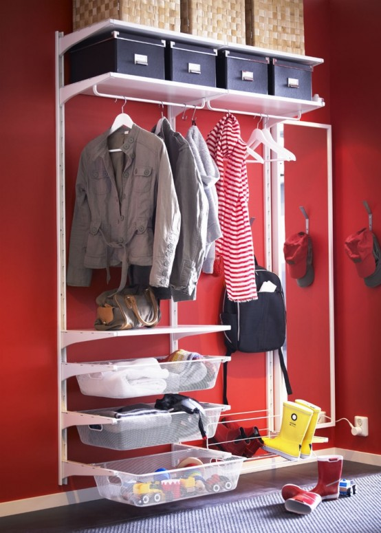 If you have nice wall color in your hallway then open shelving unit is perfect to show it.