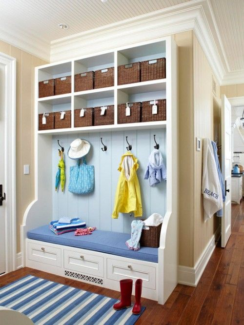 Mudroom lockers is quite popular and practical solution for small spaces.
