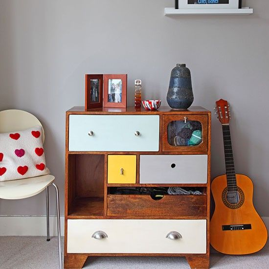 Mid-century inspired storage could look great. Mixing colors could make it to stand out.