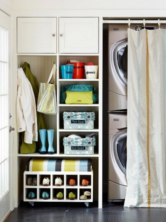 In some cases, creating a small laundry space in a hallway is a great idea. You can simply hide it behind the curtain.