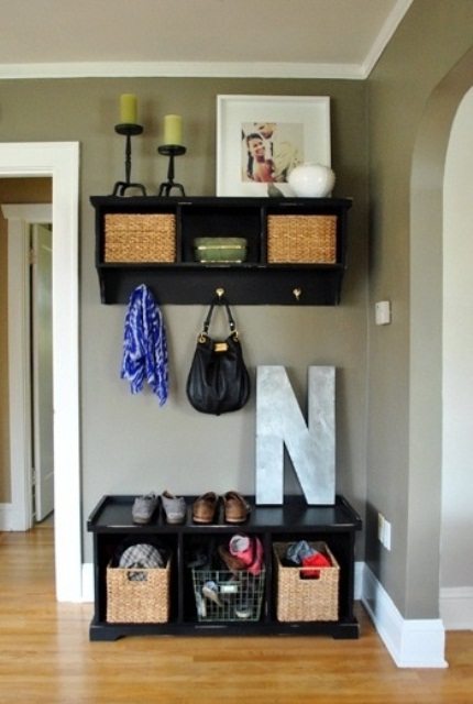 75 clever hallway storage ideas digsdigs for Foyer paint color decorating ideas