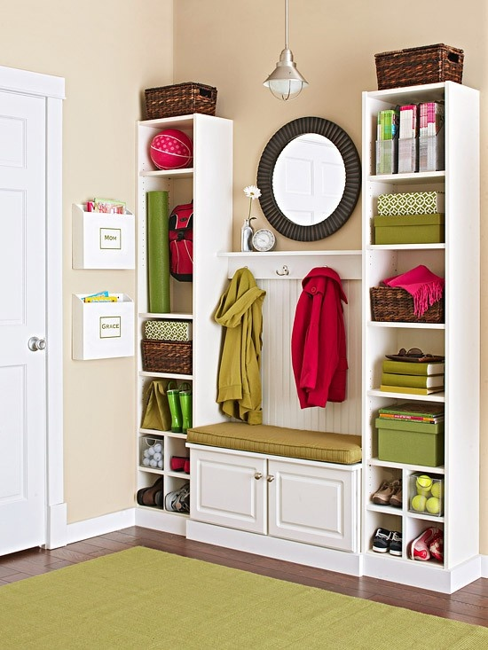 A good storage bench and two narrow storage units is usually more than enough to organize your family's clothes and shoes.