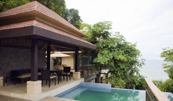 Cliff Side Villa With A Private Pool In Asian Style