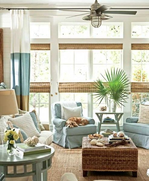 Nautical Decorating Ideas: 25 Coastal And Beach-Inspired Sunroom Design Ideas