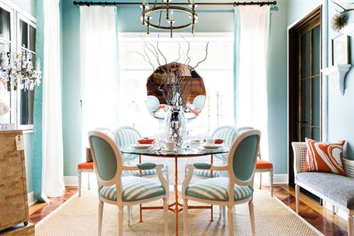 Coastal Colorful Dining Room