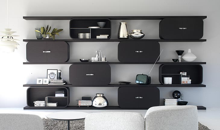 shelving system with curved plywood frames and digital