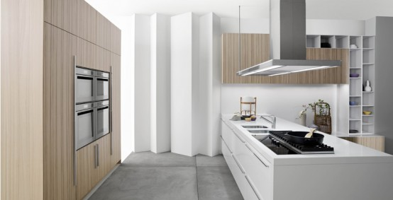 ODE with a door in bleached ash wood staves with inlays with open elements in matt arctic white lacquer