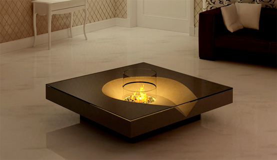 Coffee tables with built in fireplace digsdigs Cool coffee tables