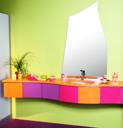 Coloful Bathroom With An Unusual Vanity