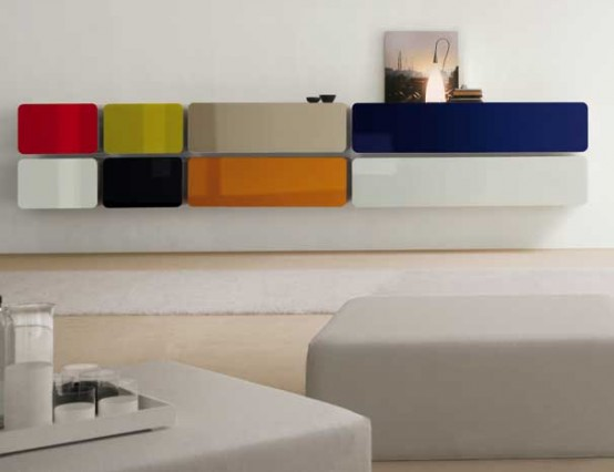 Colored Glass Wall Units and Sideboards – Glass Day Collection from Bimax
