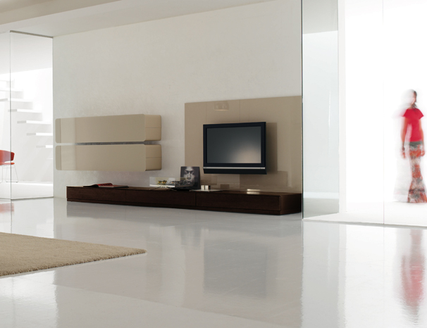 Colored glass wall units and sideboards glass day for Living room units