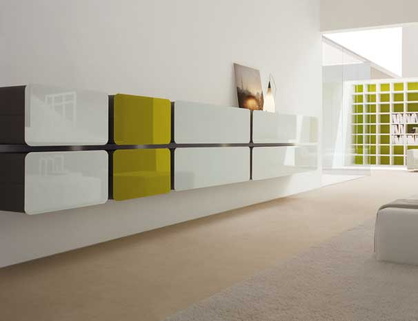 Colored Glass Wall Units and Sideboards - Glass Day Collection from ...