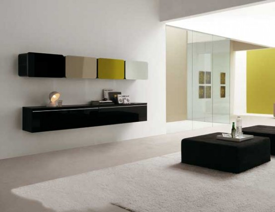 Colored Glass Wall Units For Living Room