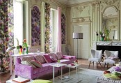 a vintage and refined spring living room with floral panels, floral curtains, purple furniture, green and yellow touches