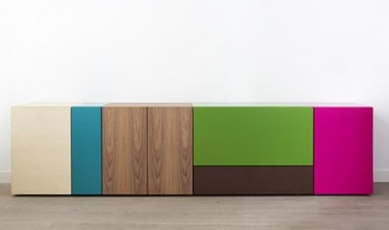 Colorful And Flexible Minimalist Lmnts Sideboard