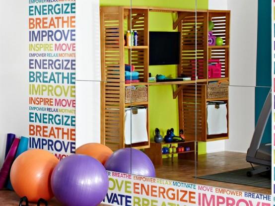 Colorful And Inspiring Home Gym Design