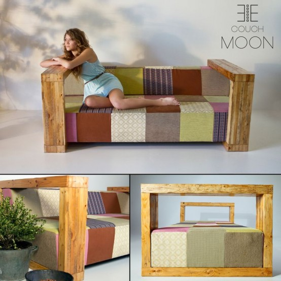 Colorful And Vital Patchwork Moon Sofa