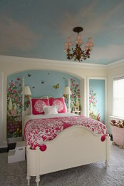 Colorful Bedroom With Mural Butterflies