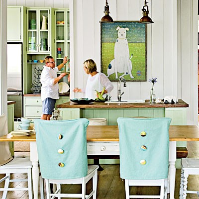 Colorful Blue Green Dining Area