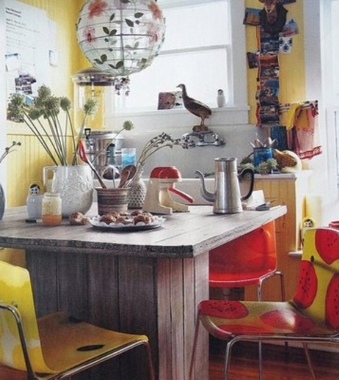 20 Chic Interior Designs With Yellow Curtains: 65 Colorful Boho Chic Kitchen Designs