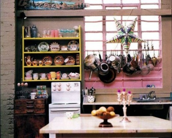 bring a touch of boho to your kitchen using bright porcelain and some accessories