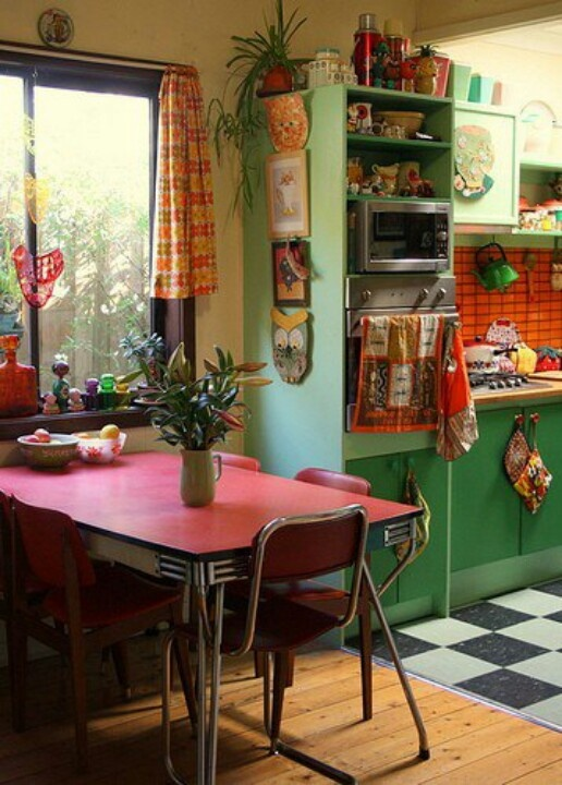 49 colorful boho chic kitchen designs digsdigs for Kitchen ideas vintage