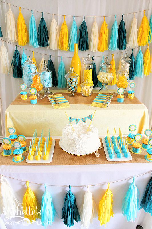 Colorful Dessert Table For A Gender Neutral Baby Shower