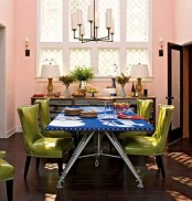 Colorful Dining Room With Green Chairs