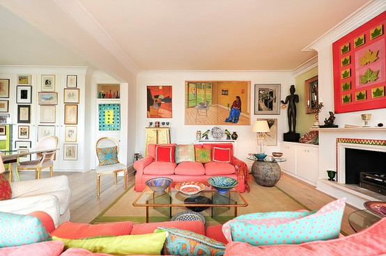 colorful eclectic living room - Bright Color Bedroom Ideas