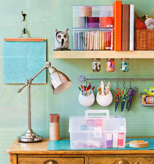 Colorful Home Office Craft Space