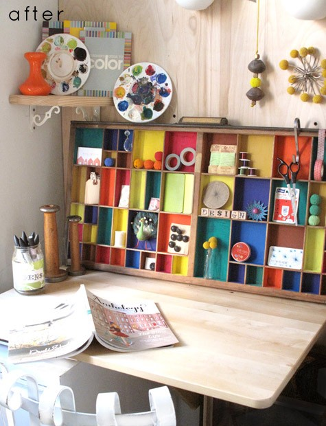 Colorful Home Office With A Nice Diy Cabinet
