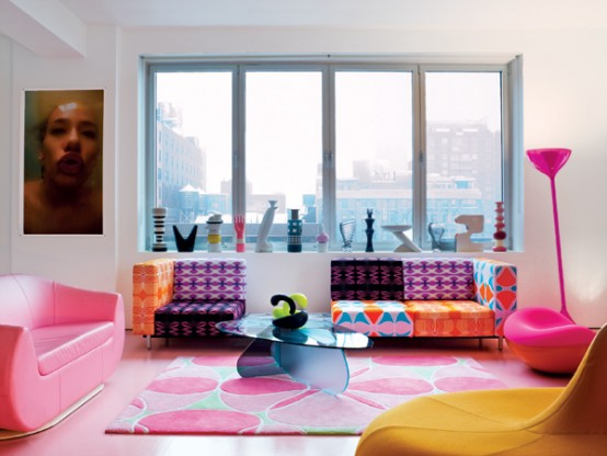 Delightful Colorful Living Room Designed By Karim Rashid Photo