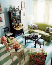 Colorful Living Room With Painted Floors