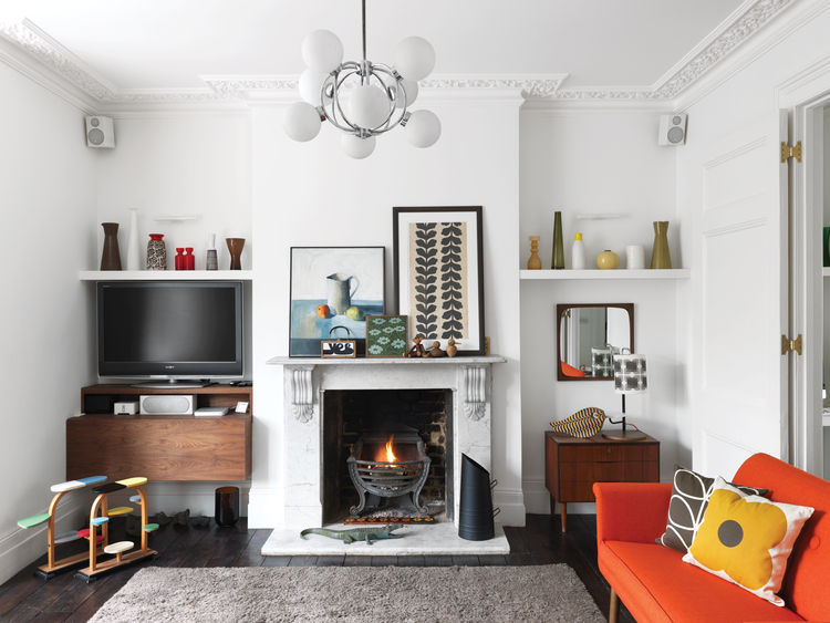 Picture Of colorful mid century modern home with victorian touches  2