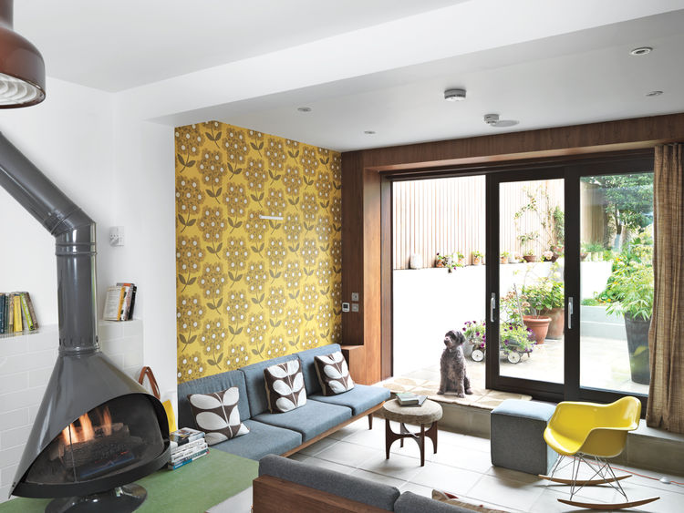 Picture Of colorful mid century modern home with victorian touches  3