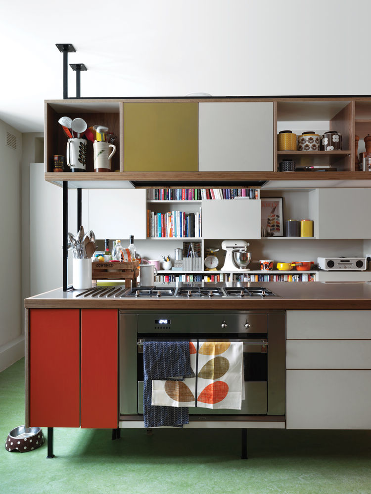 Picture Of colorful mid century modern home with victorian touches  4
