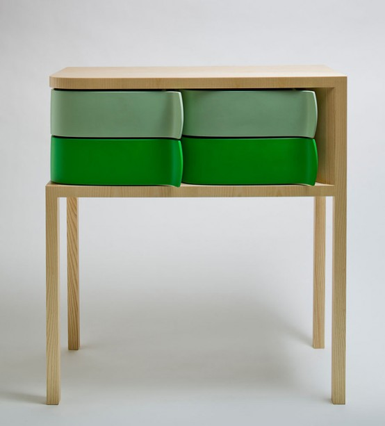 Colorful Modern Sideboard With Rotating Green Boxes