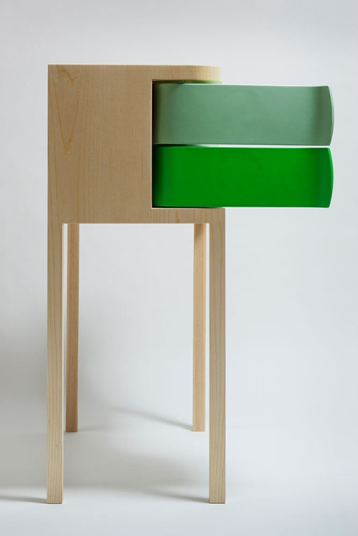Colorful Modern Sideboards With Green Rotating Boxes