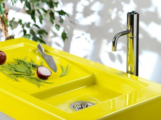 Colorful Neon Yellow Sink And Counter Top