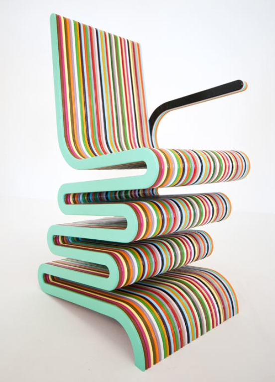 Extremely Colorful Striped Chair Of Lacquered Beech