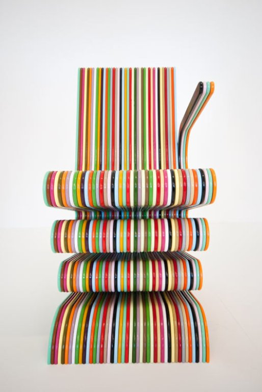 Colorful Striped Chair Of Lacquered Beech