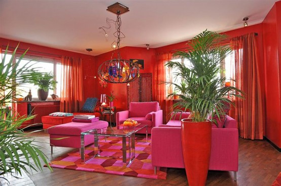 Colorful Swedish Apartment In A Crazy Mix Of Red Shades