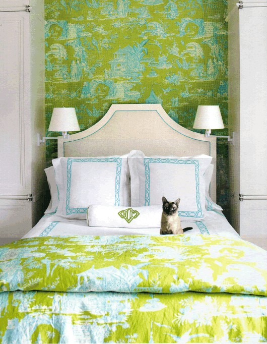 Colorful Traditional Bedroom With Matching Wallpaper And Fabric