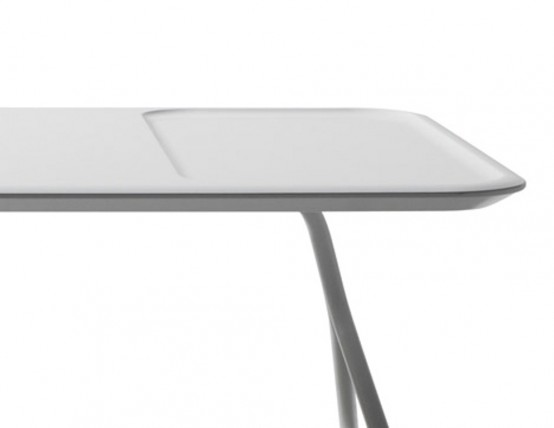 Comfortable Low Scallop Table With Depressions For Storage