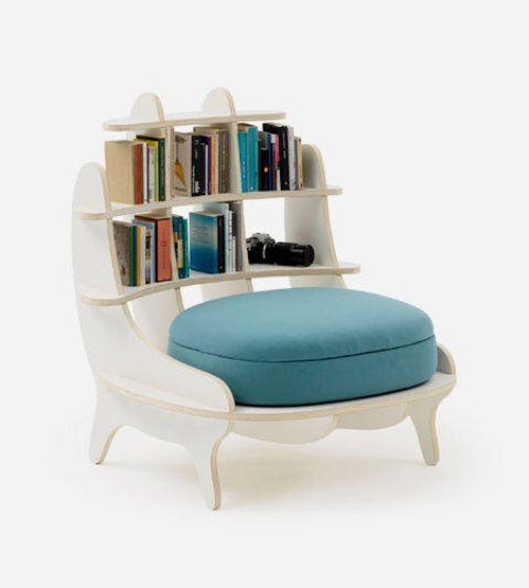 Comfy Chair With Built-In Bookshelves For Book Lovers - DigsDigs