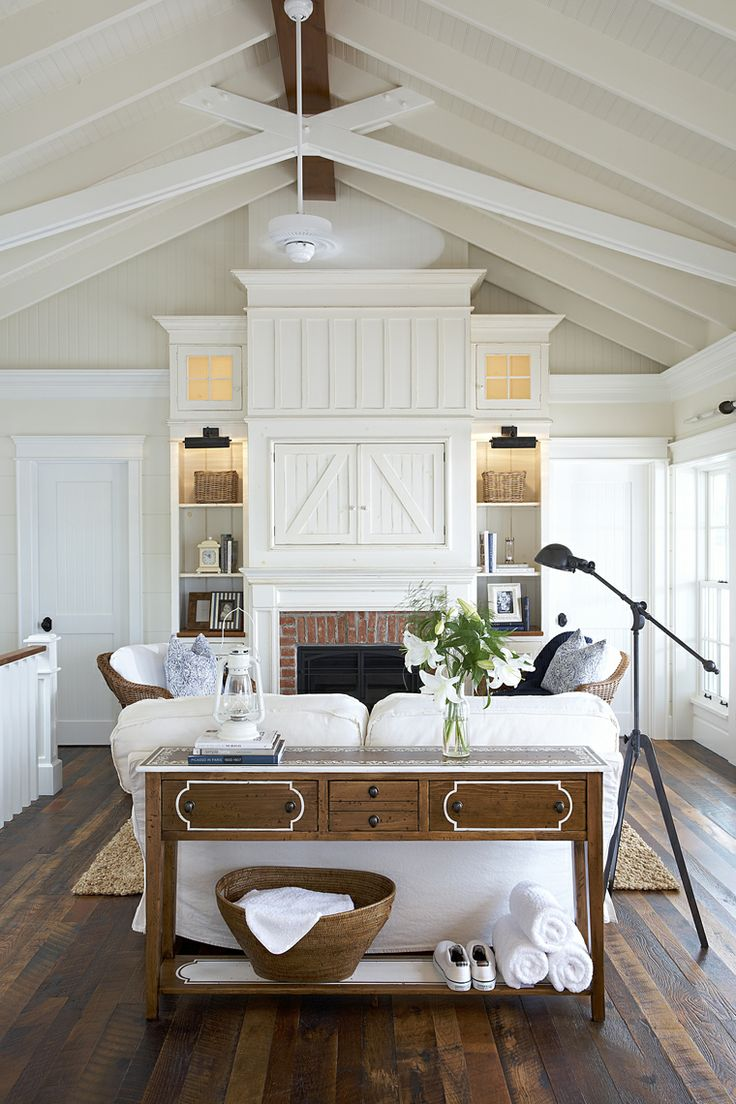 27 comfy farmhouse living room designs to steal digsdigs - Living room with fireplace ...