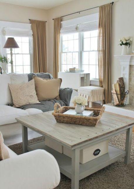 45 comfy farmhouse living room designs to steal digsdigs - Airy brown and cream living room designs inspired from outdoor colors ...