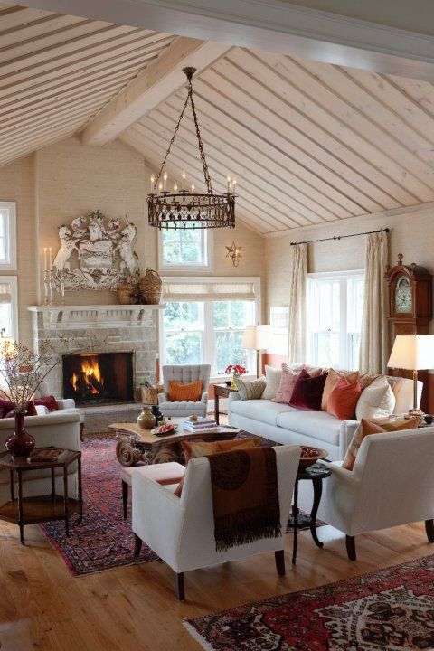 Picture of comfy farmhouse living room designs to steal for Comfy family room ideas