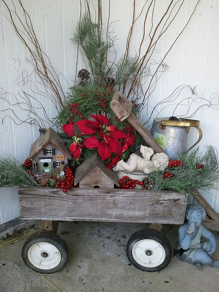 40 comfy rustic outdoor christmas d cor ideas digsdigs for Front yard decor